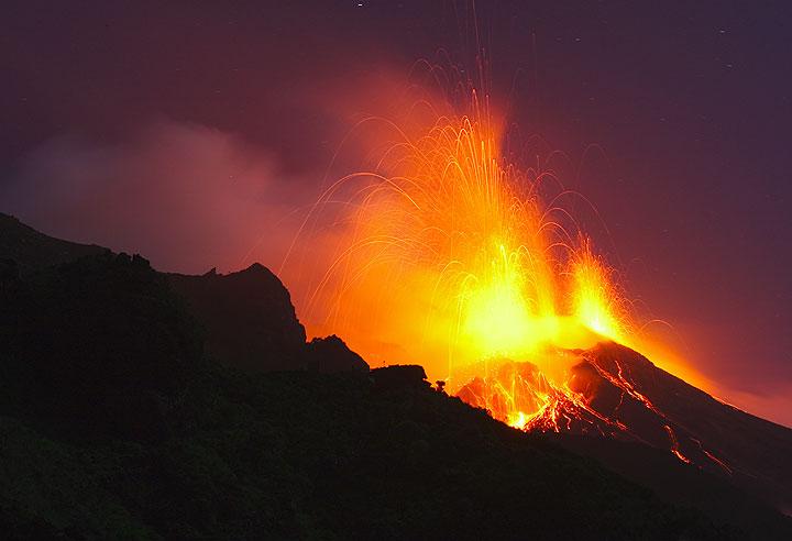 Stromboli volcano in eruption