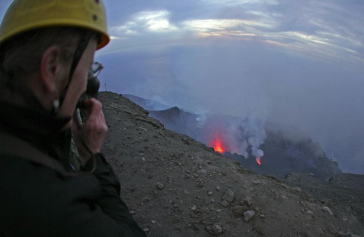 Watching an eruption at Stromboli