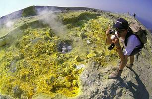 "Sulphur deposits on the rim of ""La Fossa"""