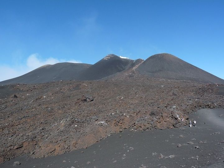 October 2013 view onto Etna´s summit area with different craters and an only 3 day old lava flow coming down in between