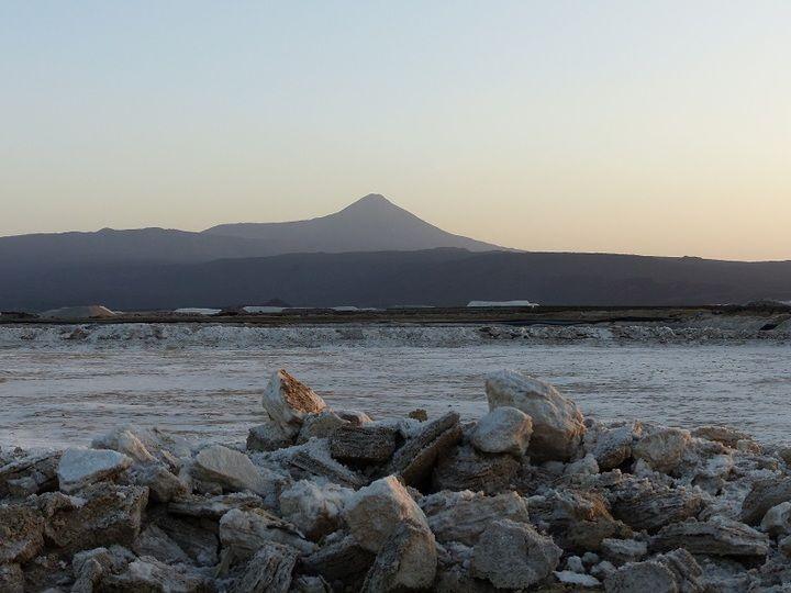 One of the brine pools at the Afdera salt works around sun set (Ingrid Smet - November 2015)