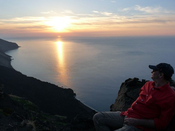 Watching the sun set over the Eolian islands from the Sciara del Fuoco viewpoint