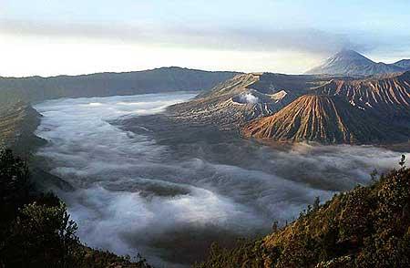 Fog in the Tengger caldera with Semeru in the background