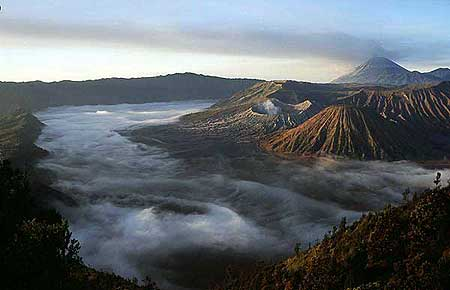 Scenic view over the Tengger caldera filles with early morning mist