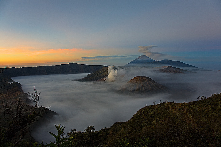 View over the Tengger caldera at sunrise
