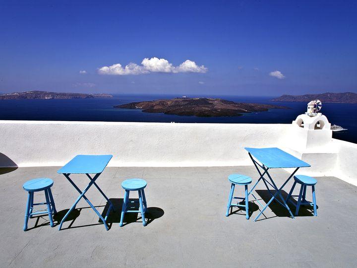 Eine private Terrasse in Thira