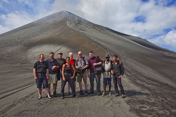 Group in front of Yasur volcano