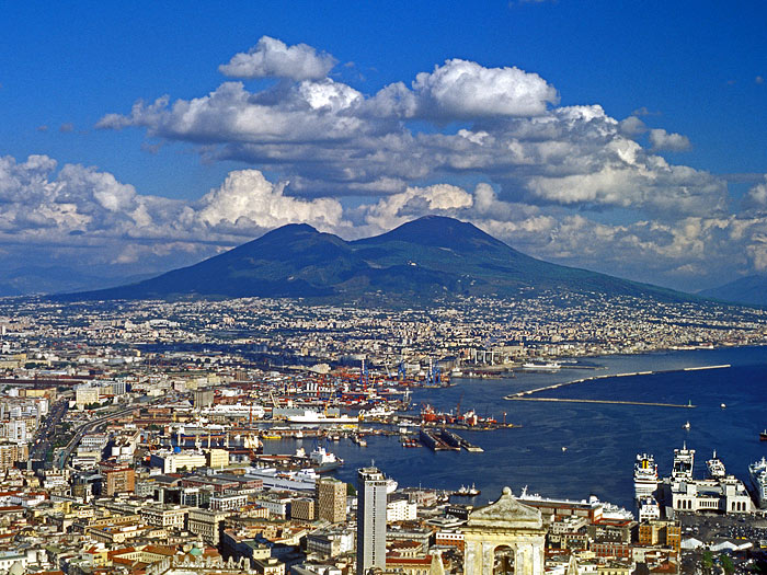 Vesuvius volcano looming over the city of Naples