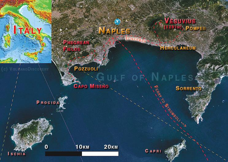 Itinéraire pour la région de la baie de Naples (jours 1-4)