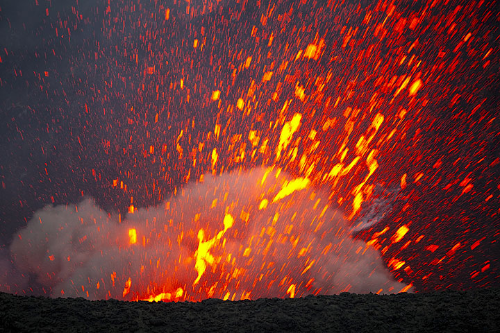 Glowing spatter erupted from Yasur volcano