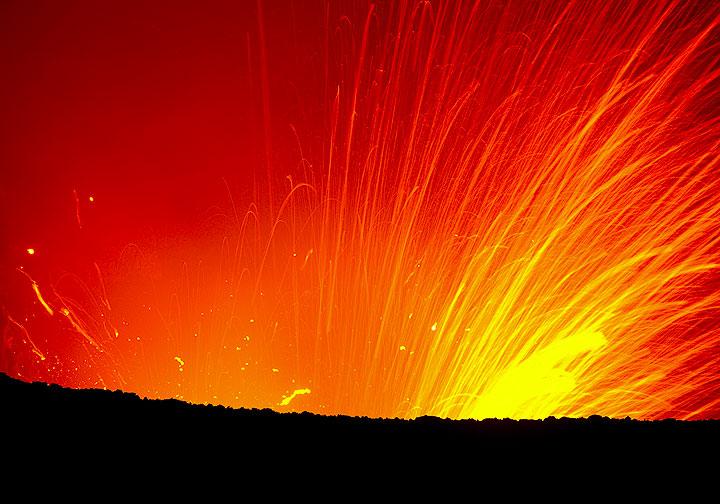 Fireworks at night (Yasur volcano)