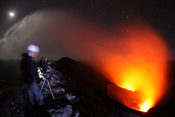 Watching Yasur volcano at night