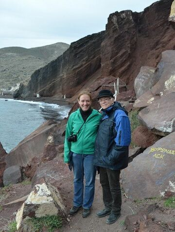 Stefan and tour guide Ingrid at Santorini's famous red beach (image: Roxana H.)