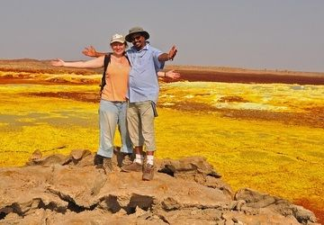 Anastasia and our Danakil expedition leader Enku at Dallol
