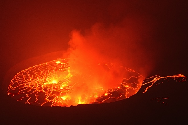 At the end of January 2018 the southern hornito was active again, creating a lava flow that fed the lava lake (image: Mike W)