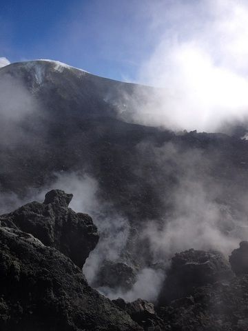 Looking across some of Etna´s actively degassing summit craters (photo - Petra)