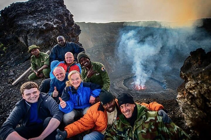 The Volcano-Adventures group at the summit of Nyiragongo volcano in July 2016 (photo by Fadi A.)