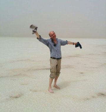 Simeon enjoying the natural spa experience at Assale salt lake