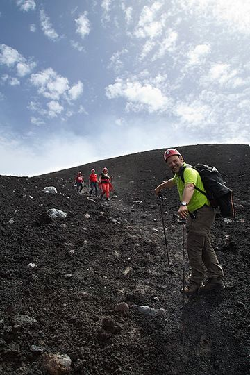Walking down the summit craters