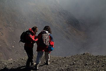 Looking down into Etna's Bocca Nuova Crater