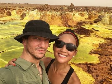 Rebecca and Adam at the hydrothermal deposits of Dallol