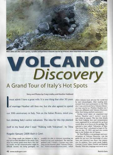 """Read what it is like to travel with us - """"A Grand Tour of Italy's Hot Spots"""" (Rock&Gem magazine, Jan 2012 issue)"""