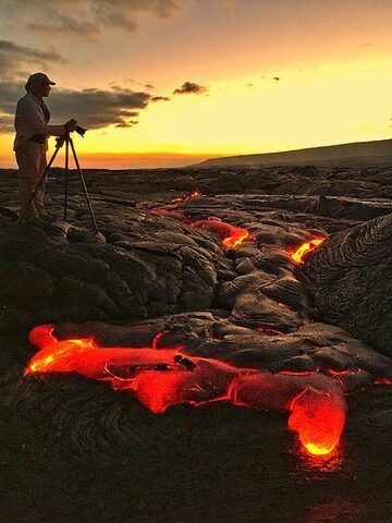 Tom photographing the lava flows (image: Leland L.)