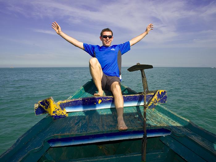 Antony on the boat to Rakata island near Anak Krakatau