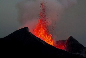Lava fountains of ca 150 m height from the 2011-2012 active flank vent eruption of Nyamuragira volcano, DR Congo