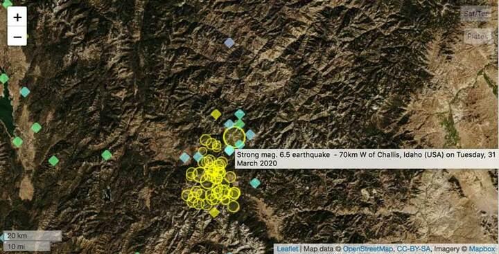 Aftershocks following the M6.5 quake in Idaho on 31 Mar 2020