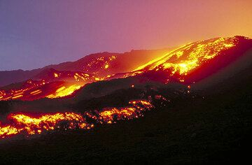 Large aa lava flow on Etna volcano