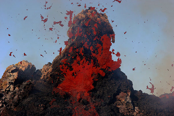 Erupting hornito on Etna volcano (Italy)
