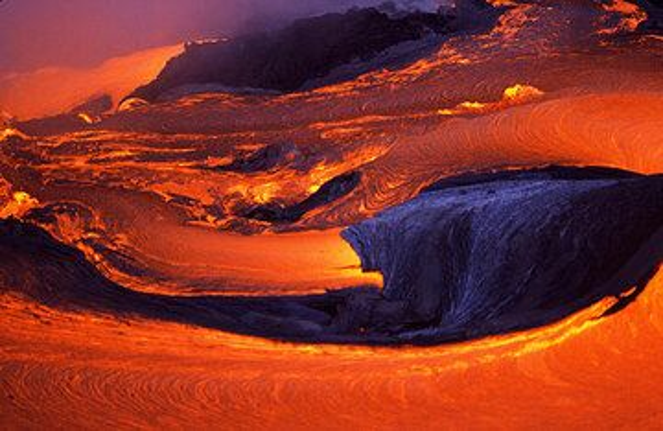 Lava flows near the coast from Kilauea volcano, Hawai'i