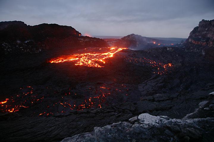 Lava poors out from several vents inside the crater of Pu'u 'O'o, Kilauea volcano, Hawai'i