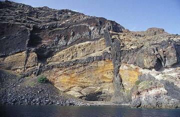 Dikes in the caldera walls of Santorini (Greece)