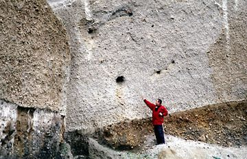 """Pumice deposit on Santorini, Greece, from the large Plinian """"Minoan"""" eruption on Santorini in 1613 BC, showing the holes in the pumice where remants of an olive tree could be found and recovered by Tom in 2003. This material allowed the most recent and most precise dating of this eruption to date."""