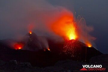 Strombolian eruptions from vents of Stromboli volcano, Eolian Islands, Italy