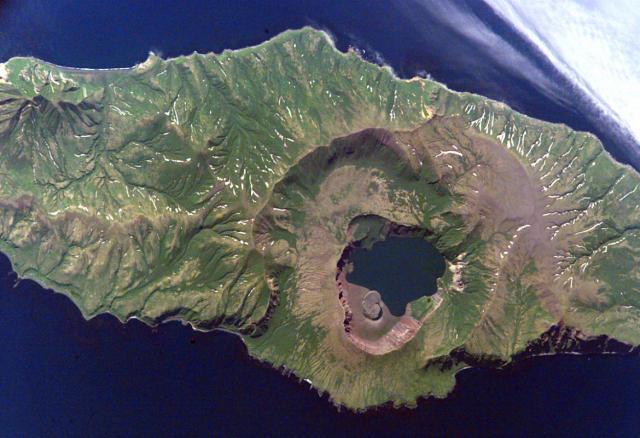 The caldera of Zavaritzki volcano on Simushir Island, Kuriles. NASA International Space Station image ISS-5-E-6512, 2002 (http://eol.jsc.nasa.gov/)