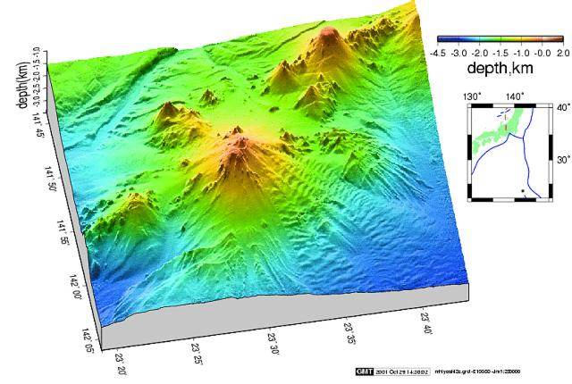 Minami-Hiyoshi lies near the SE end of a coalescing chain of youthful seamounts and is the only historically active vent. The morphologically youthful seamount Naka-Hiyoshi (upper right) lies to the NW and Ko-Hiyoshi seamount (left) to the SSE. Image courtesy of HOD Japan Coast Guard (http://www1.kaiho.mlit.go.jp/jhd-E).