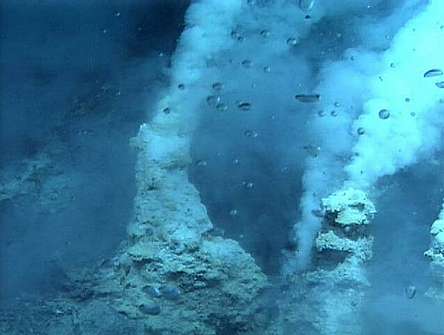 White smokers in the submarine Champagne hydrothermal field (image courtesy of Submarine Ring of Fire 2006 Exploration, NOAA Vents Program)