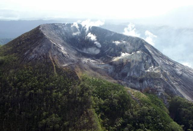 A close-up photo of Pago's ravaged summit crater taken from the N on 16 September 2002. (Photo: USGS)