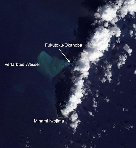 Satellite image of Fukutoku-Okanoa volcano (11 Feb 2010, NASA Earth Observatory)