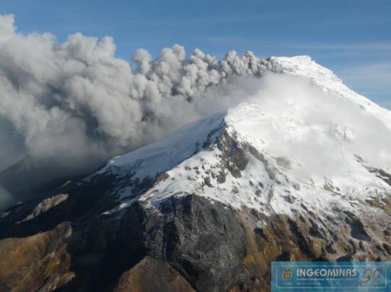 Ash emissions from Nevado del Huila on 8 Nov 2011 (photo: INGEOMINAS)