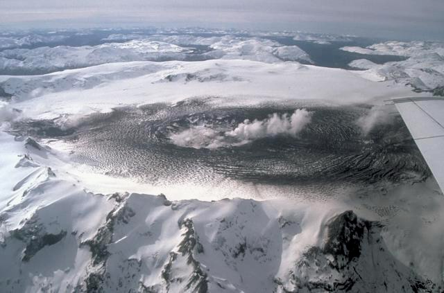 The ice-filled summit caldera of Cerro Hudson volcano
