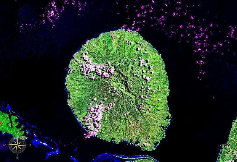 Kolombangara Island in the Solomon Islands. The summit caldera is clearly visible. (NASA satellite image)