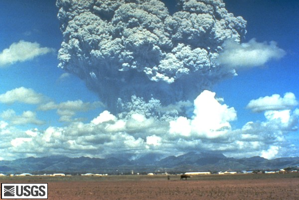 The June 12, 1991 eruption column from Mount Pinatubo taken from the east side of Clark Air Base. U.S. Geological Survey Photograph taken on June 12, 1991, 08:51 hours, by Dave Harlow.