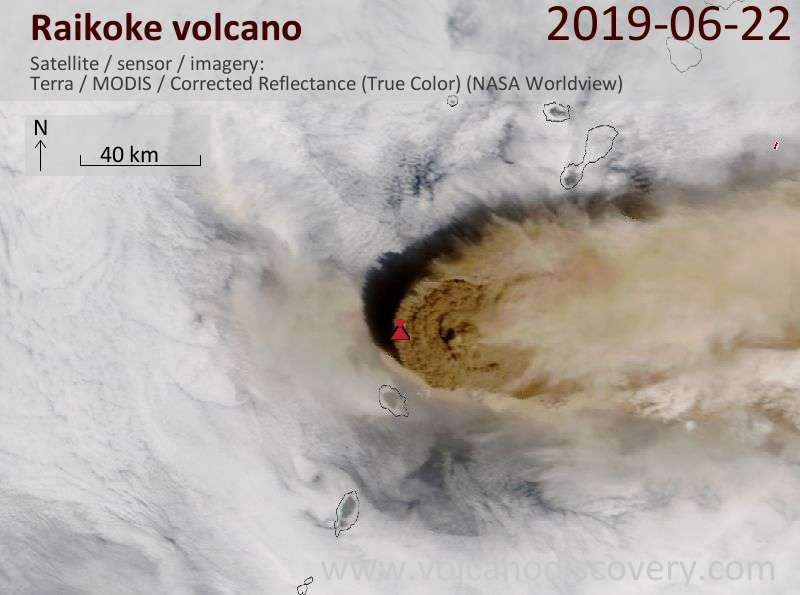 Eruption plume of the 21 June 2019 eruption seen from satellite on 22 June