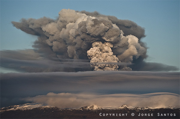 The ash cloud from erupting Eyafjallajökull volcano, which spread over Europe in mid April and led to an unprecedented closure of airspace for almost 7 days over almost all of Europe