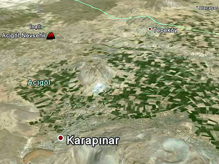 Google Earth View image of the caldera of Acigöl-Nevsehir