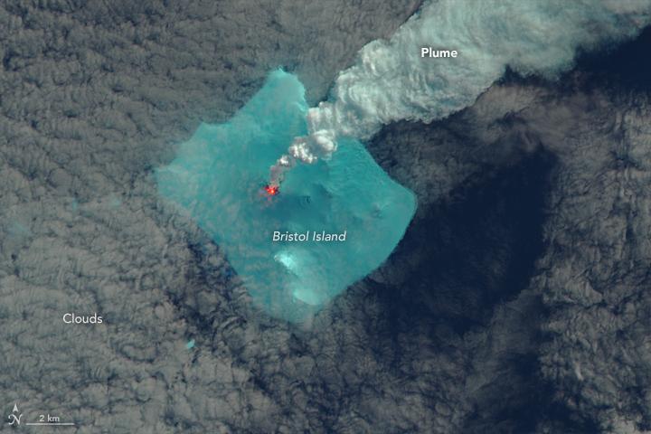 NASA Earth Observatory image of Bristol Island on 24 April 2016 by Jesse Allen, using Landsat data from the U.S. Geological Survey.